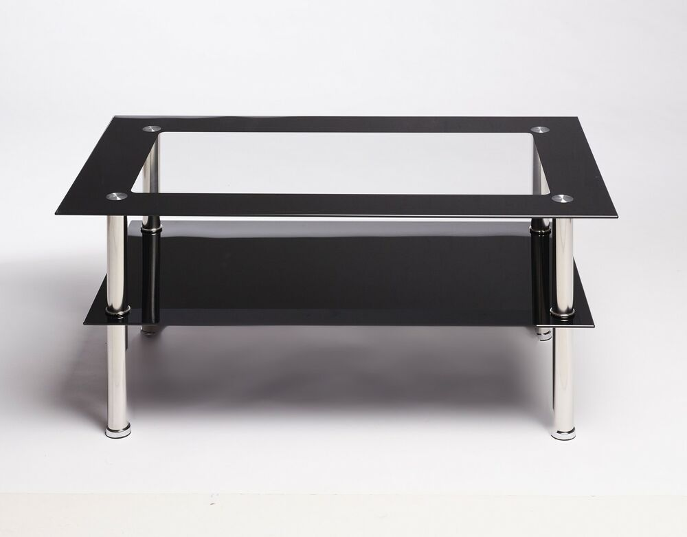 Black and clear rectangle glass and steel designer modern coffee table ebay Steel and glass coffee table