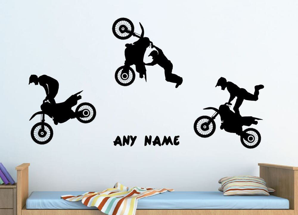 Extra large set of 3 dirt bikes wall stickers any colour for Dirt bike wall mural