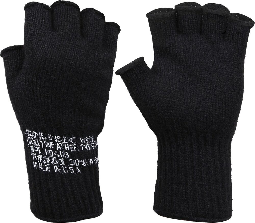 Black Tactical Fingerless Military Glove Liner Inserts Wool Gloves USA Made   012fcdb62757