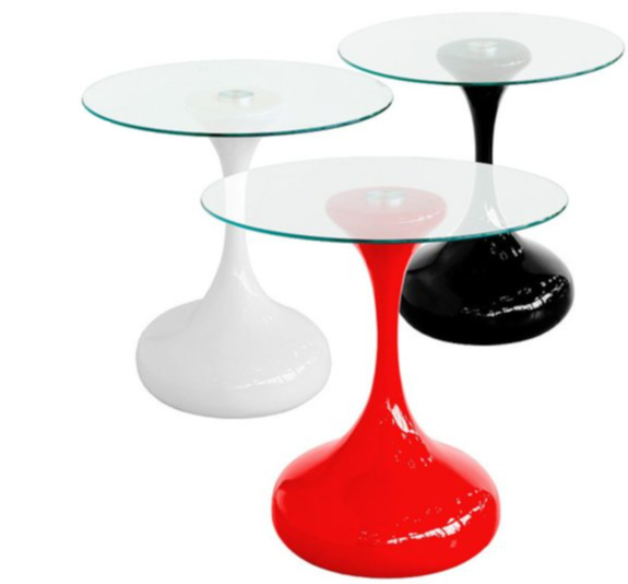 BLACK WHITE RED GLASS HOUR SIDE END LAMP COFFEE TABLE
