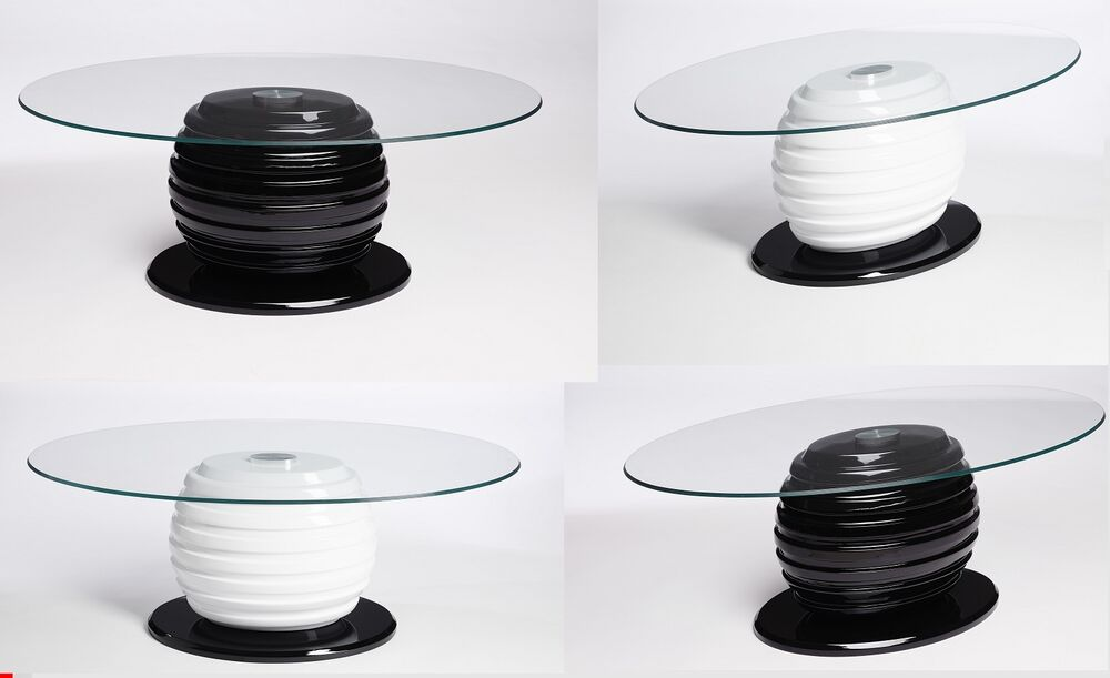 Black White Oval Glass Coffee Table Contemporary Modern Retro Ebay