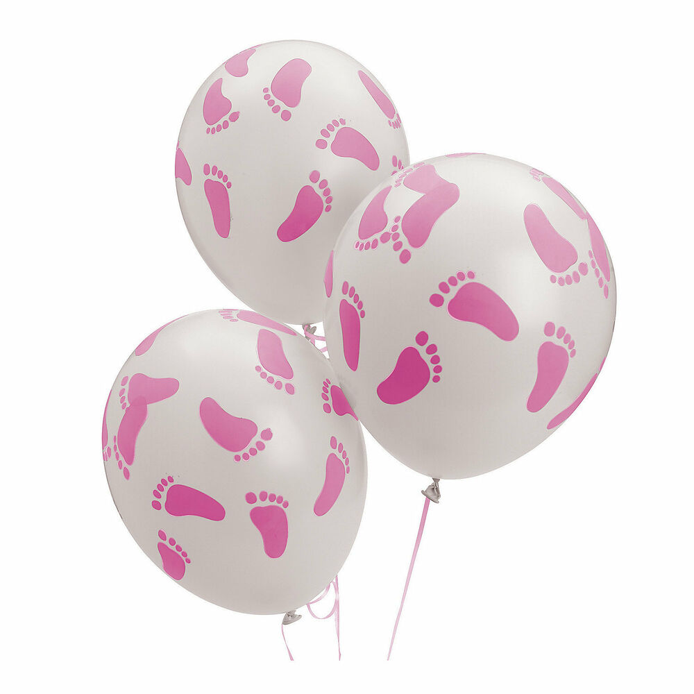 24 baby shower decorations latex balloons pink girl baby footprint