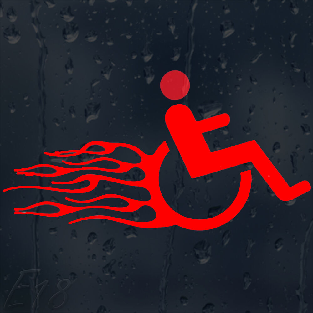Details about funny fast and furious wheelchair in fire flames car decal vinyl sticker