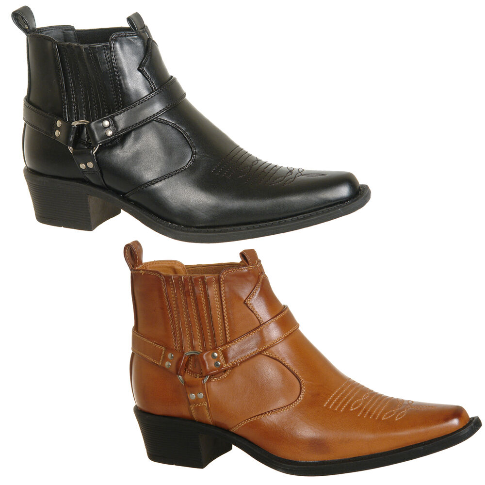 835399ed3c21 Details about Mens New Black   Tan Brown Ankle Cowboy Western Boots Size UK  6 7 8 9 10 11 12
