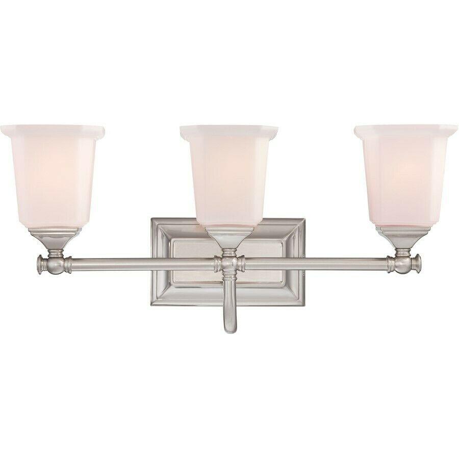 bathroom lighting fixtures brushed nickel quoizel 3 light nicholas bath fixture in brushed nickel 22183
