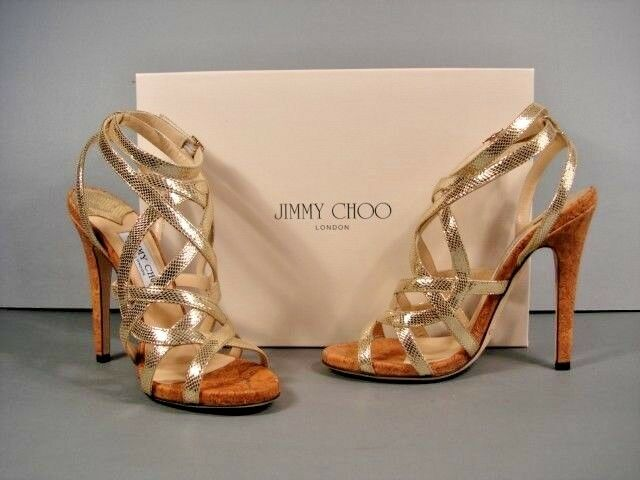 Jimmy Choo Dehlia Metallic Gold Leather Strappy Sandals
