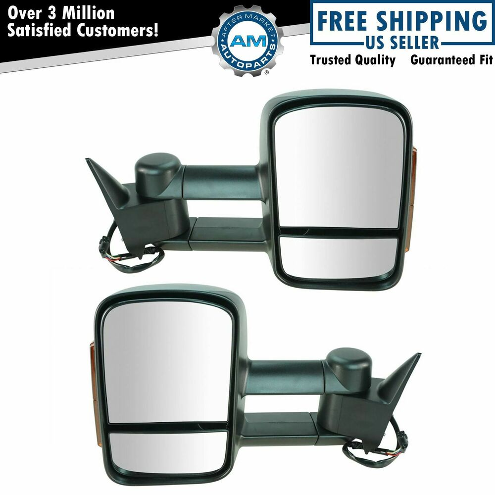 Vehicle Towing Mirrors : Towing mirror power heated signal textured pair for chevy