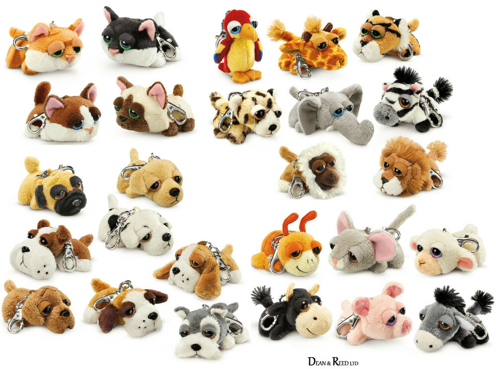 Soft Animal Toys : Russ berrie assorted dog cat animal key ring bag clip