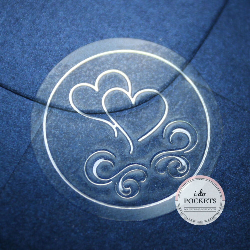 50 100 150 200 ENVELOPE SEALS WEDDING INVITATIONS CLEAR SILVER STICKERS HEARTS