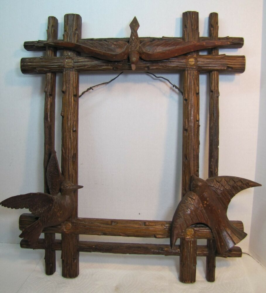 Old Folk Art Birds Tree Limbs Wood Carved Picture Frame