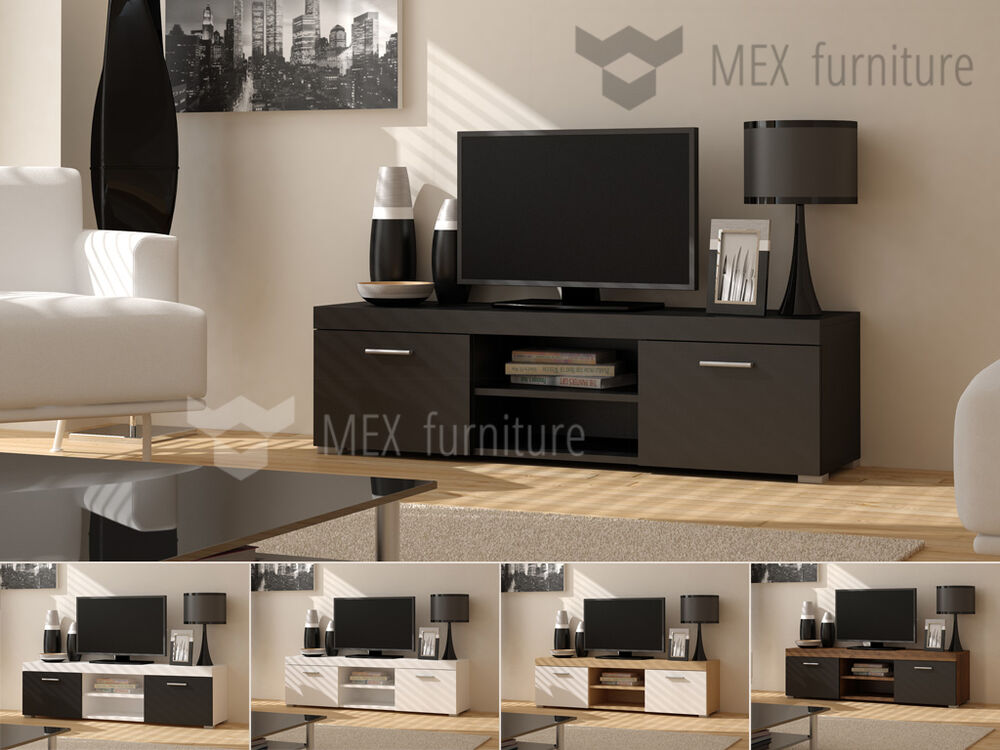modern tv unit tv cabinet tv stand lowboard free delivery ebay. Black Bedroom Furniture Sets. Home Design Ideas