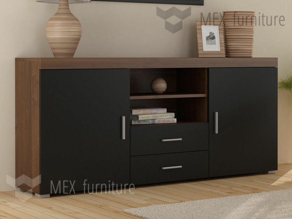 2 doors 2 drawers sideboard cupboard tv cabinet free. Black Bedroom Furniture Sets. Home Design Ideas