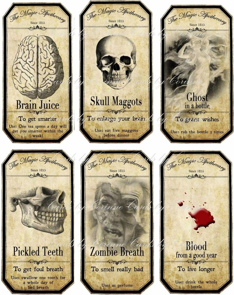 Halloween Steampunk apothecary bottle label stickers set 6 ...