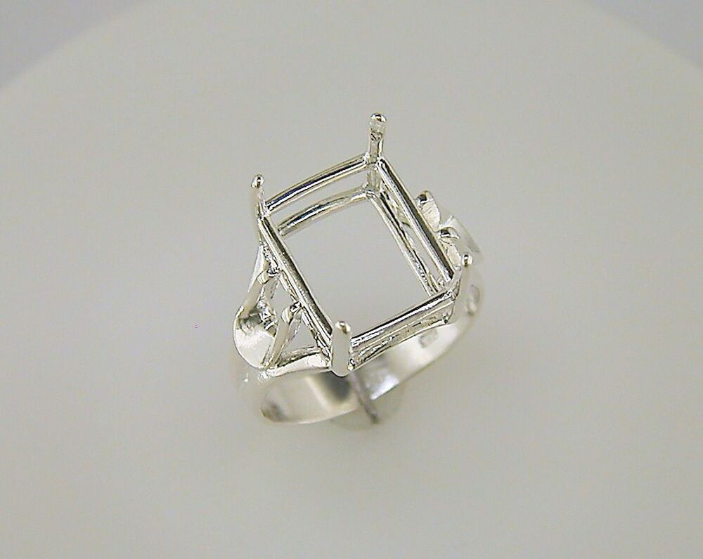 emerald cut side deco solitaire ring setting sterling
