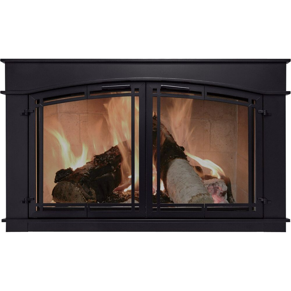 Pleasant Hearth Fieldcrest Glass Fireplace Doors Cabinet Style Black