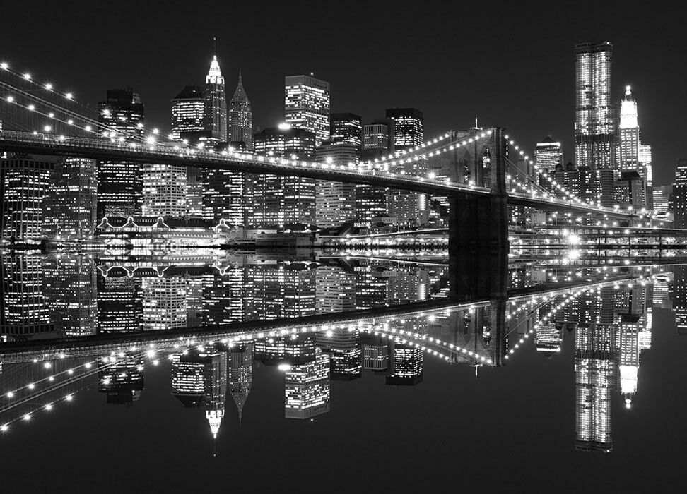 Wall mural skyline new york city photo wallpaper cityscape for Brooklyn bridge black and white wall mural