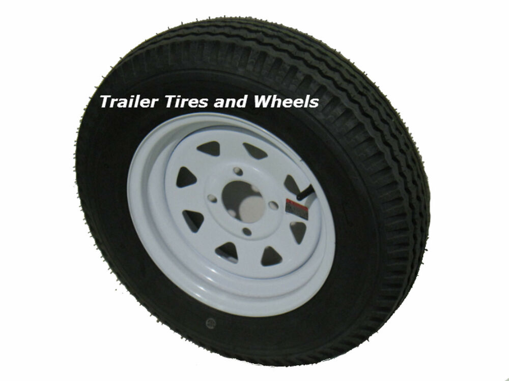 "Four Wheeler With Rims: 4.80-12 LRB 4 PR Bias Trailer Tire On 12"" 4 Lug White Spk"