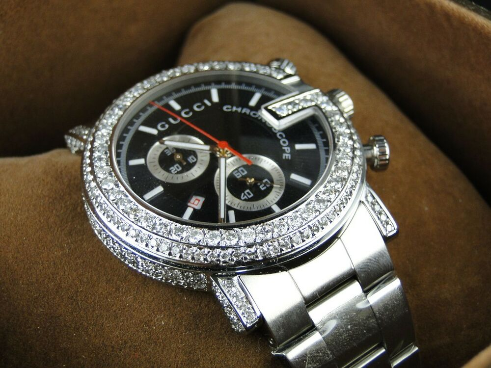 "6 CT NEW CUSTOM ""G"" WATCH MENS DIAMOND GUCCI YA101334 6 CT ..."