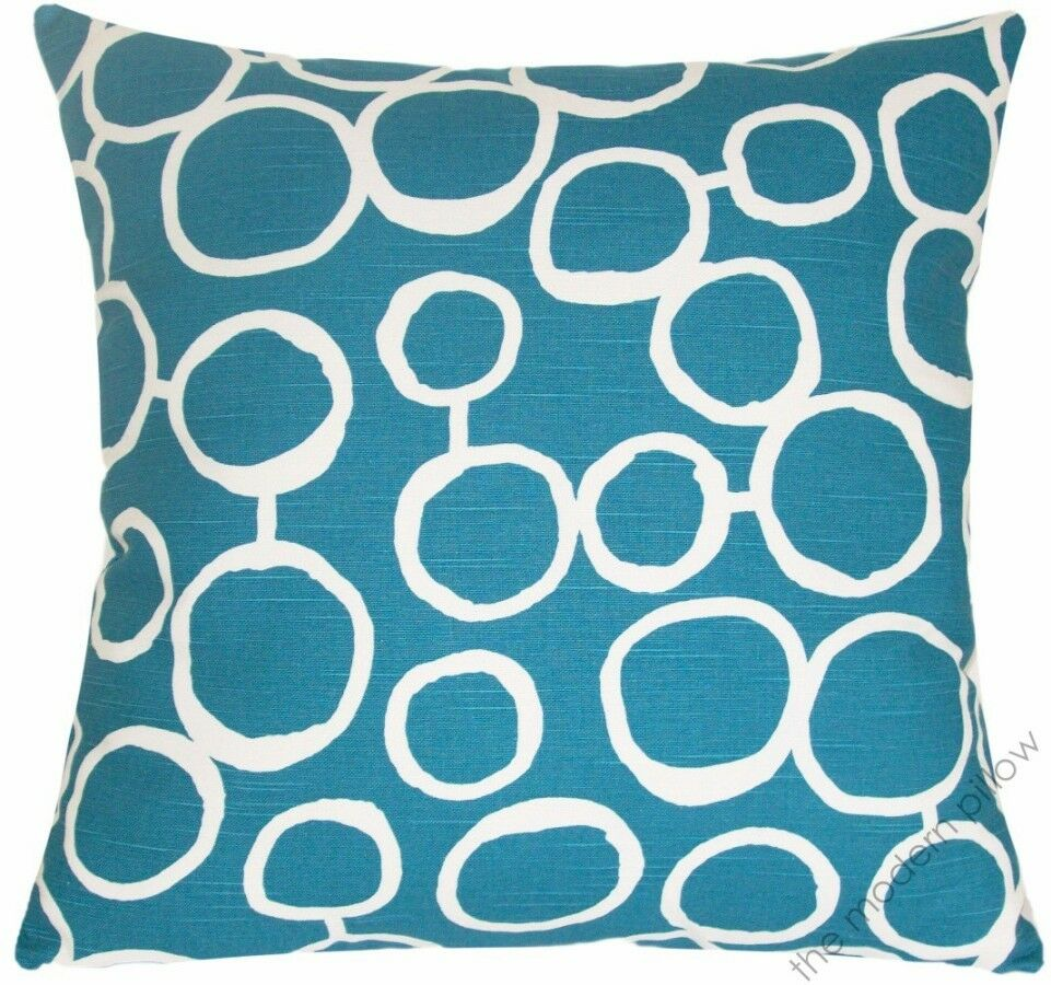 Deep Aqua Blue,White Freehand decorative throw pillow/cushion cover 20x20