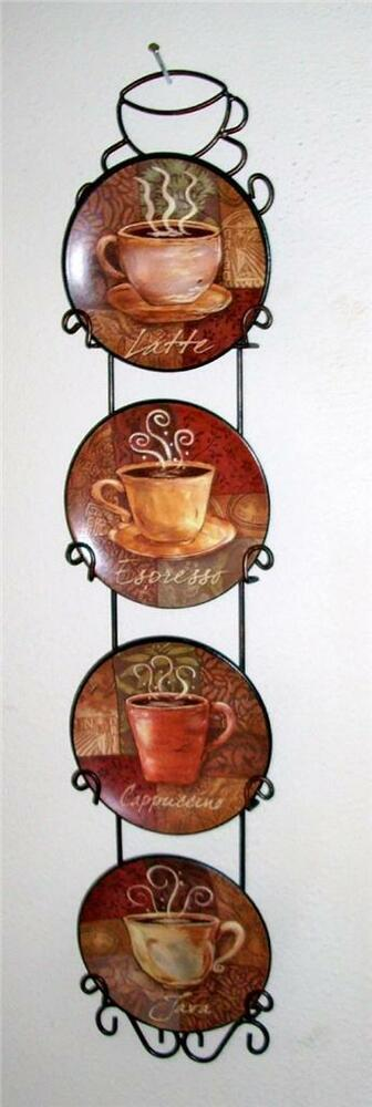 coffee themed kitchen accessories 4 coffee house bistro cafe wall plate rack set decor 5528