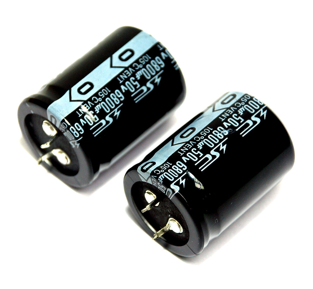2pc Electrolytic Capacitor Snap In Can Hp 6800uf 50v 105