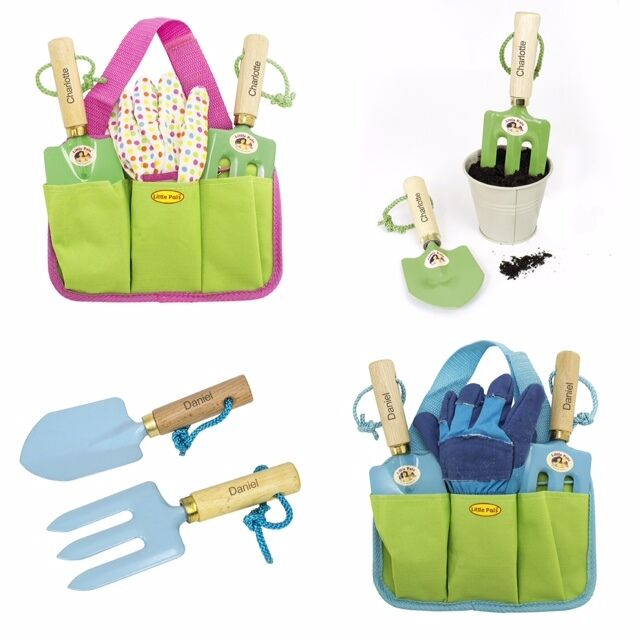 Personalised childrens boys girls garden gardening tools for Gardening tools gift set