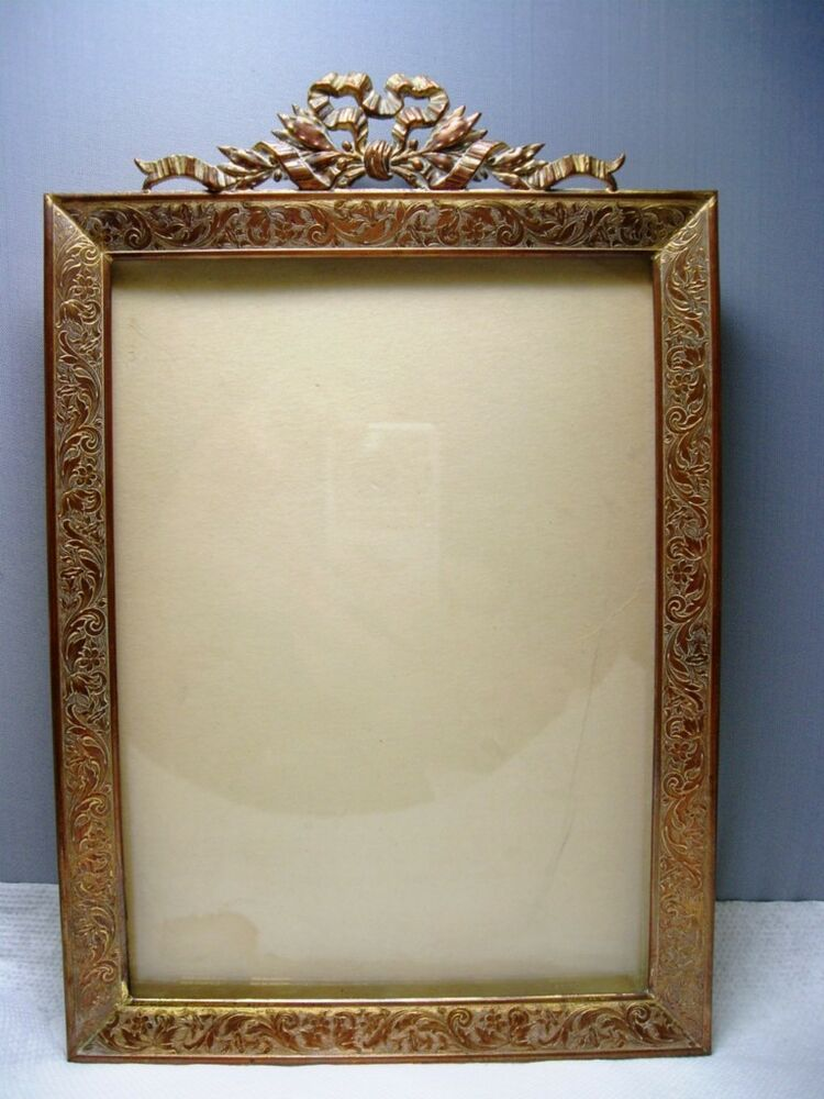 Antique French Empire Etched Gilt Ormolu Picture Frame