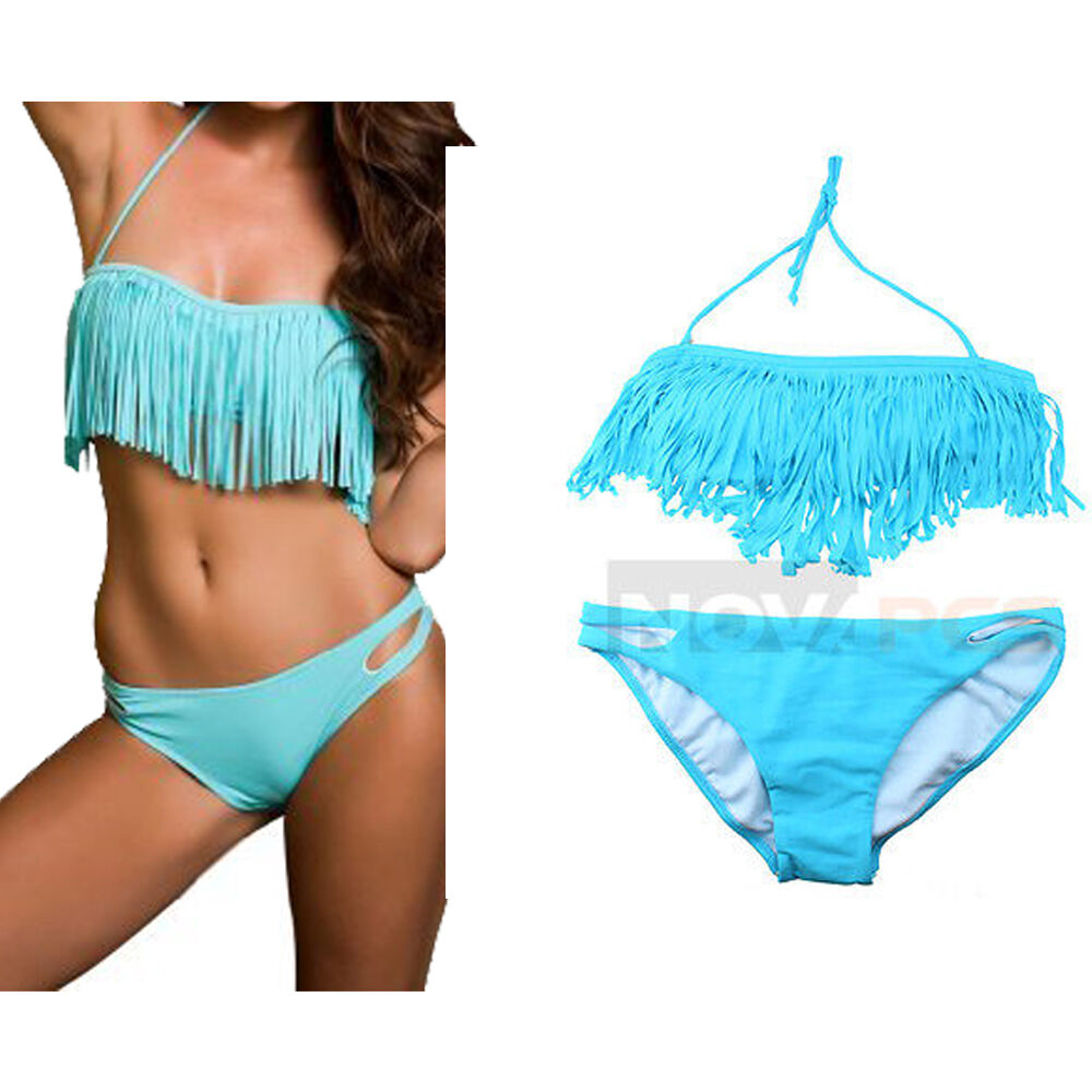 Women's fringe bathing suits come in a variety of styles, from swimsuits to bikinis and tankinis. Choose a hybrid suit that's the best of all worlds with an R Collection monokini in eye-catching blue.