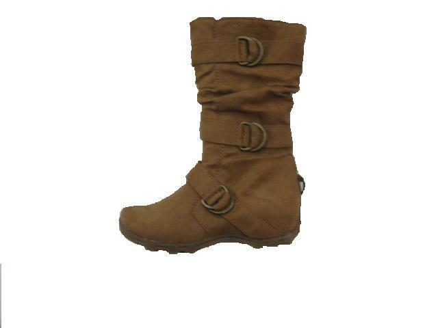 052790129139 Womens 3 Big Buckle Slouchy Riding Boot Tan Camel Mid Calf Faux Suede Sz  6-10