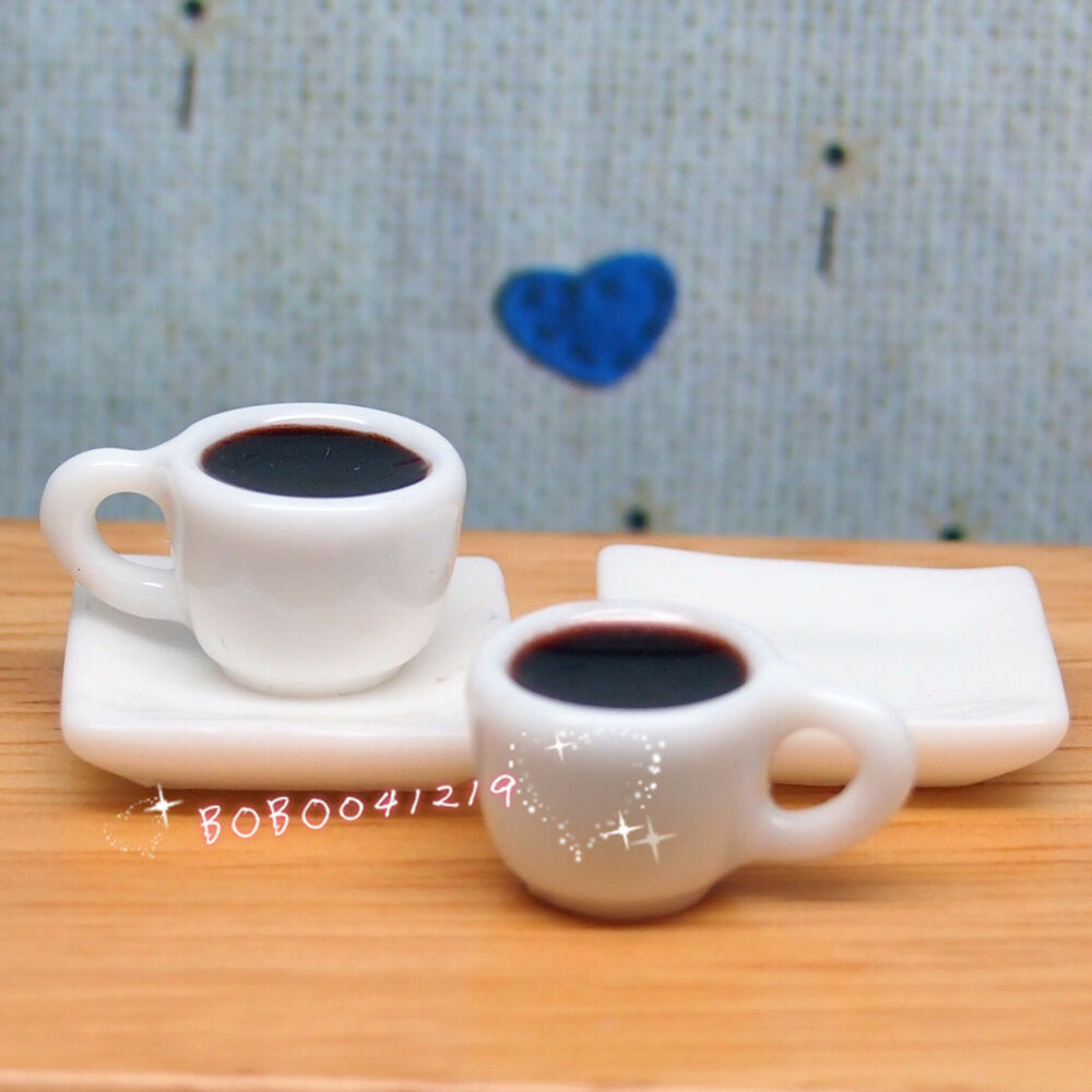 Dollhouse Miniature Kitchen Drink 2 Cups Of Black Coffee