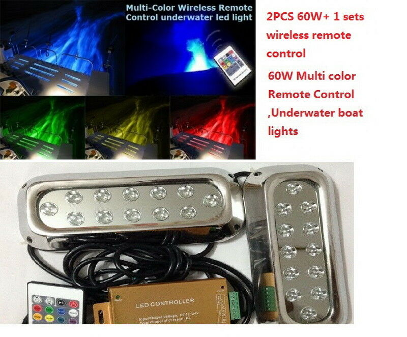 remote control lights 2pc60w remote multi color yacht lights underwater 10677