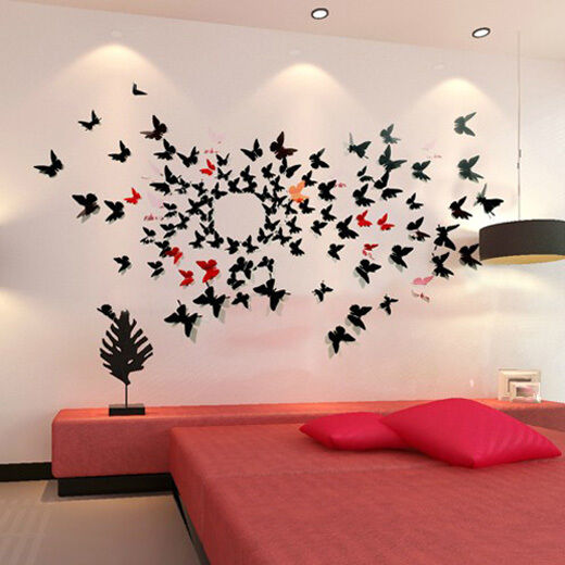 3d butterfly wall stickers wall decors wall art wall decorations k ebay. Black Bedroom Furniture Sets. Home Design Ideas
