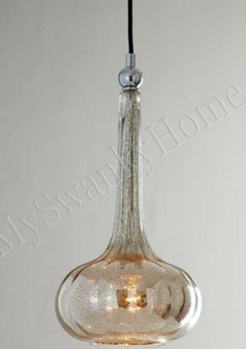 Horchow Mercury Glass Fluted Mini Pendant Hanging Light