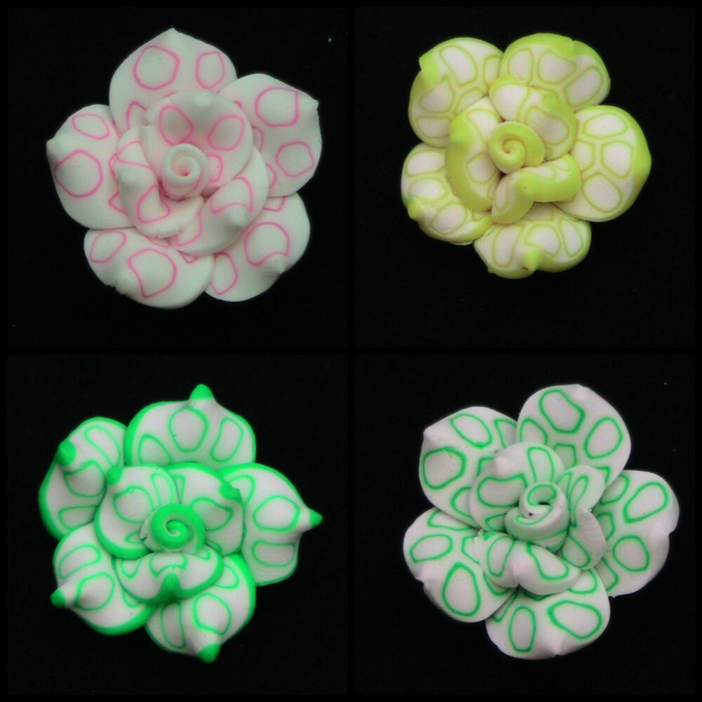 how to make flower beads with polymer clay