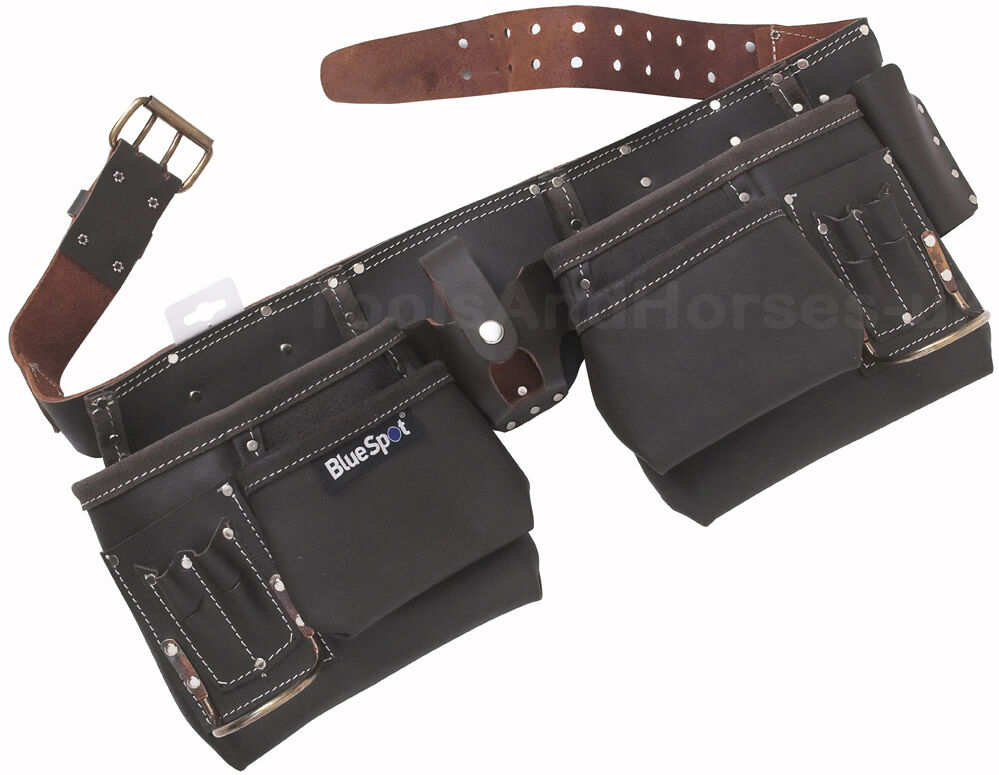 11 Pocket Oil Tanned Leather Tool Belt Work Pouch Builders