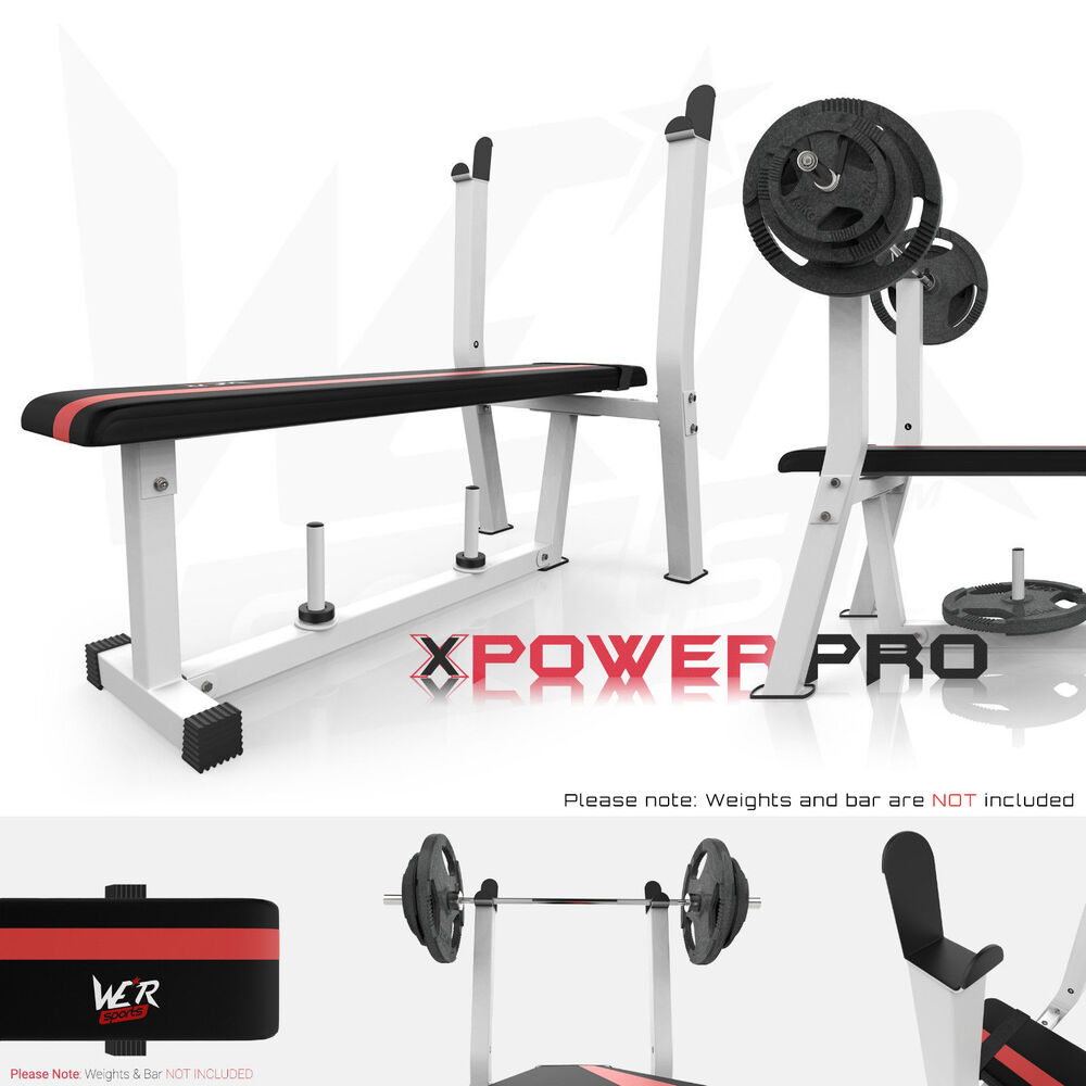 Flat Weight Bench With Rack & Plate Holder Shoulder Chest ...