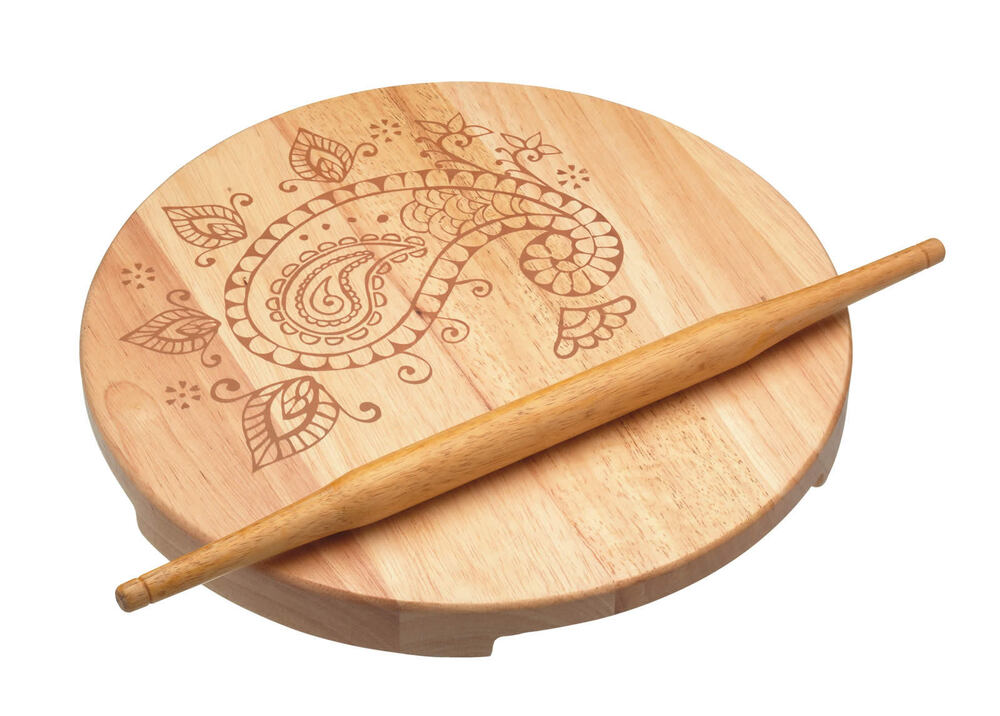 Kitchen craft wooden indian chapati rolling pin round for Kitchen pin