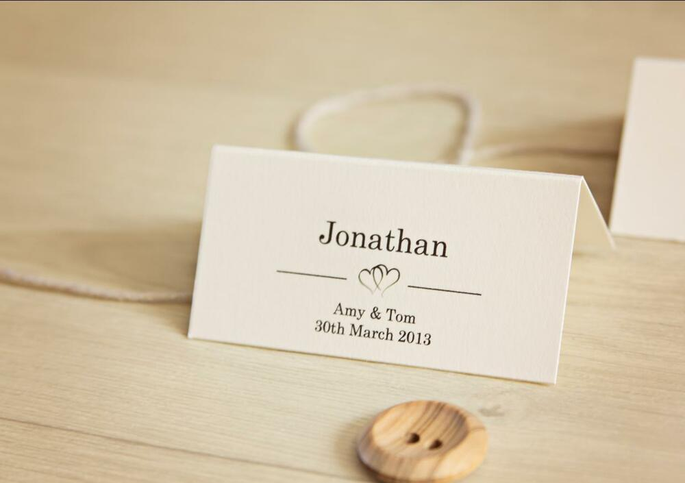 10 personalised wedding place card table names invitation