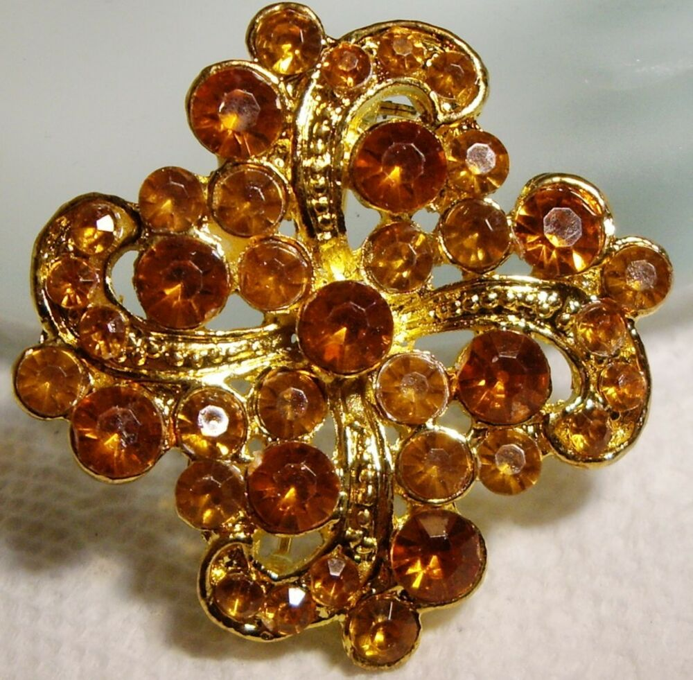 Vintage Amber Color Lucite Jeweled BROOCH PIN 1.5 | eBay