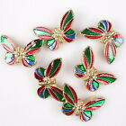 8pcs 112834 New Pretty Colorised Charms Enamel Butterfly Mixed Alloy Beads