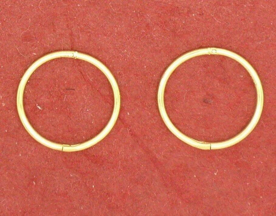 Gold Plated Sterling Silver Sleepers Earrings Hinged 12mm