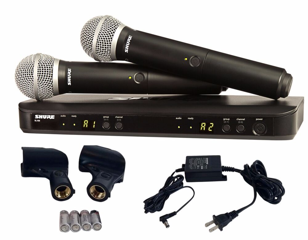 shure dual handheld uhf wireless microphone system blx288 pg58 42406246170 ebay. Black Bedroom Furniture Sets. Home Design Ideas