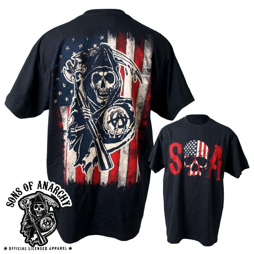 sons of anarchy skull logo american flag soa biker reaper. Black Bedroom Furniture Sets. Home Design Ideas