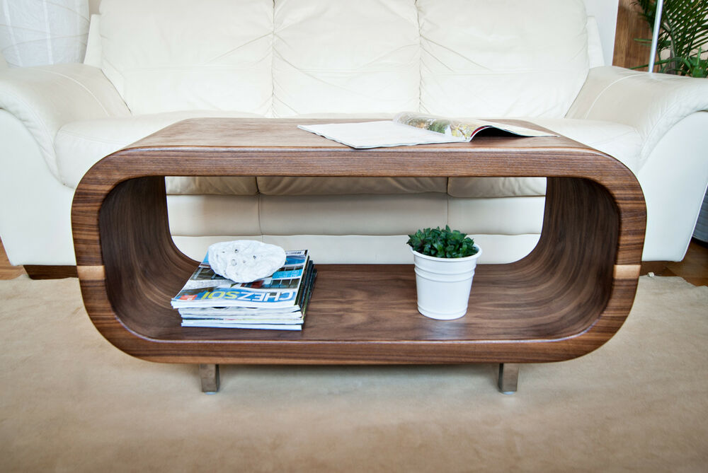 Designer walnut coffee table tv stand accent table ishape slim by kr mm ebay Coffee table tv stand set