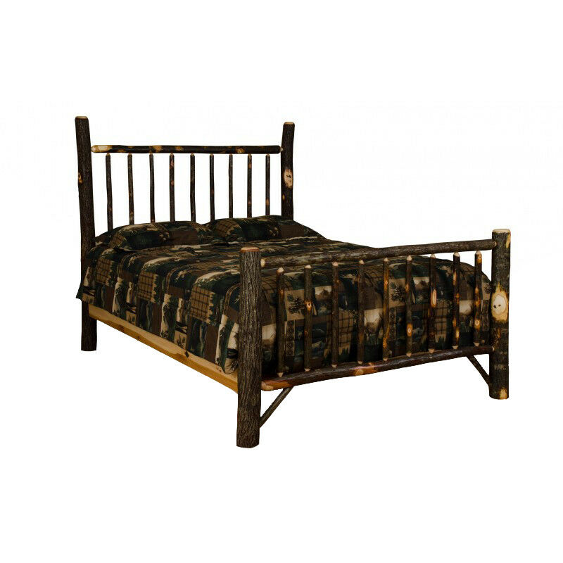 queen size hickory mission style bed amish made in usa 605930747201 ebay. Black Bedroom Furniture Sets. Home Design Ideas