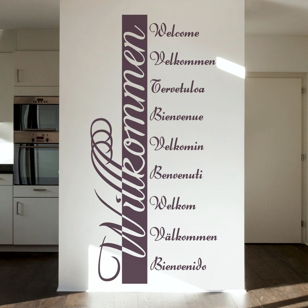 wandtattoo wandbanner willkommen xxl 160cm spruch wandaufkleber flur eingang ebay. Black Bedroom Furniture Sets. Home Design Ideas