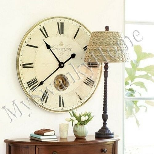 Large gray pendulum wall clock 30 roman numerals traditional classic ebay - Large roman numeral wall clocks ...