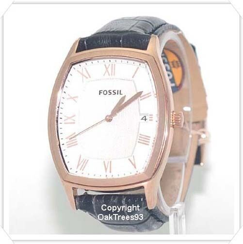 fossil mens angel rose gold black leather watch fs4739 ebay. Black Bedroom Furniture Sets. Home Design Ideas
