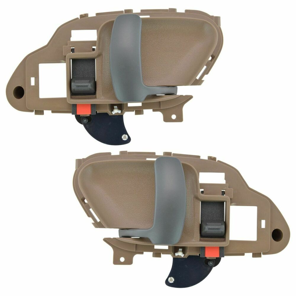 Door handles inside interior tan left right pair set for chevy gmc tahoe yukon ebay for 1999 suburban interior door handle