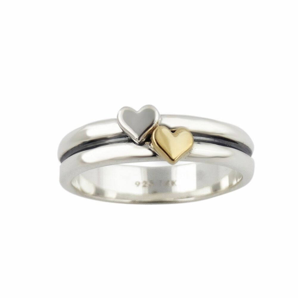 ring 925 sterling silver and 14k gold ring new